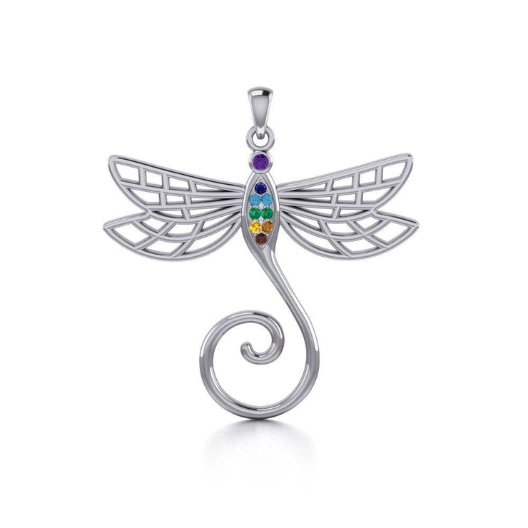 Dragonfly Silver Charm Holder Pendant with Chakra Gemstone TPD5097