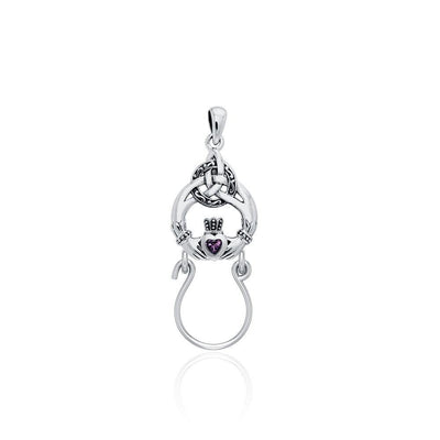 Claddagh Triquetra Silver Charm Holder Pendant with Gemstone TPD5098 Pendant