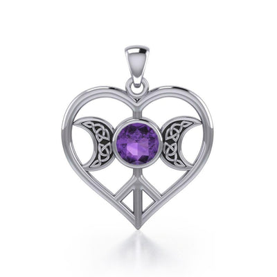 Triple Goddess Love Peace Sterling Silver Pendant with Gemstone TPD5106