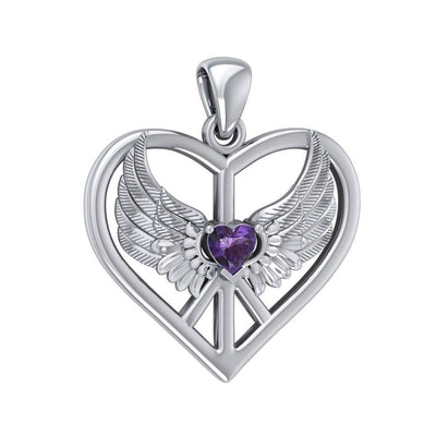 Wrapped in the Wings of an Angel ~ Sterling Silver Peace Symbol Pendant Jewelry TPD5109 Pendant