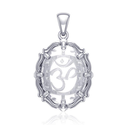Om Sterling Silver Pendant with Natural Clear Quartz TPD5111