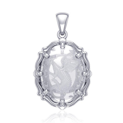 Beyond the dragonโ€™s fierce presence -  Sterling Silver Pendant with Natural Clear Quartz TPD5122
