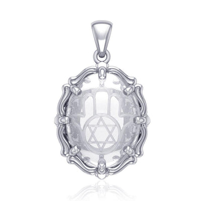 Hamsa Hand and Star of David Sterling Silver Pendant with Natural Clear Quartz TPD5128