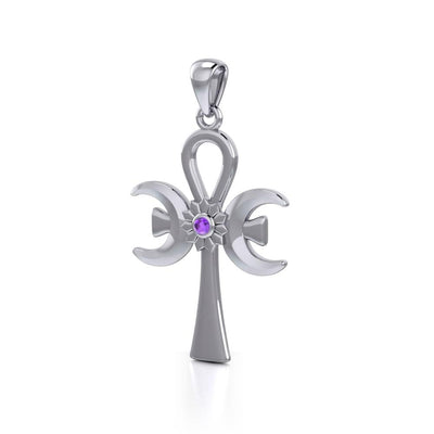 The cross of life ~ Sterling Silver Triple Goddess Ankh Pendant with Gemstone TPD5141