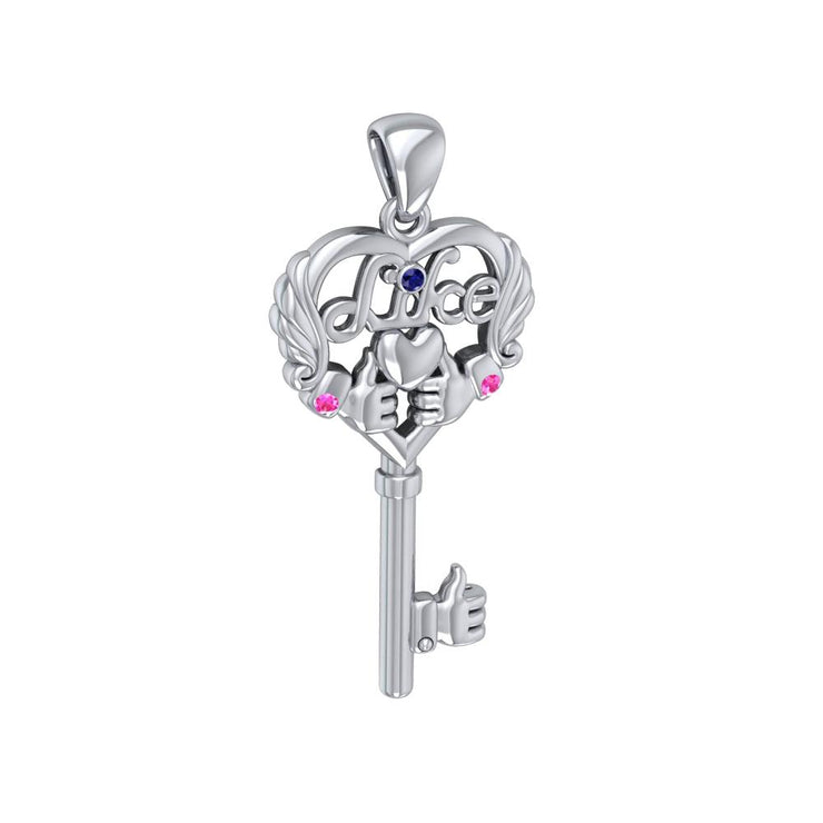 Sterling Silver Like Icon Key Heart Pendant with Gemstones TPD5142