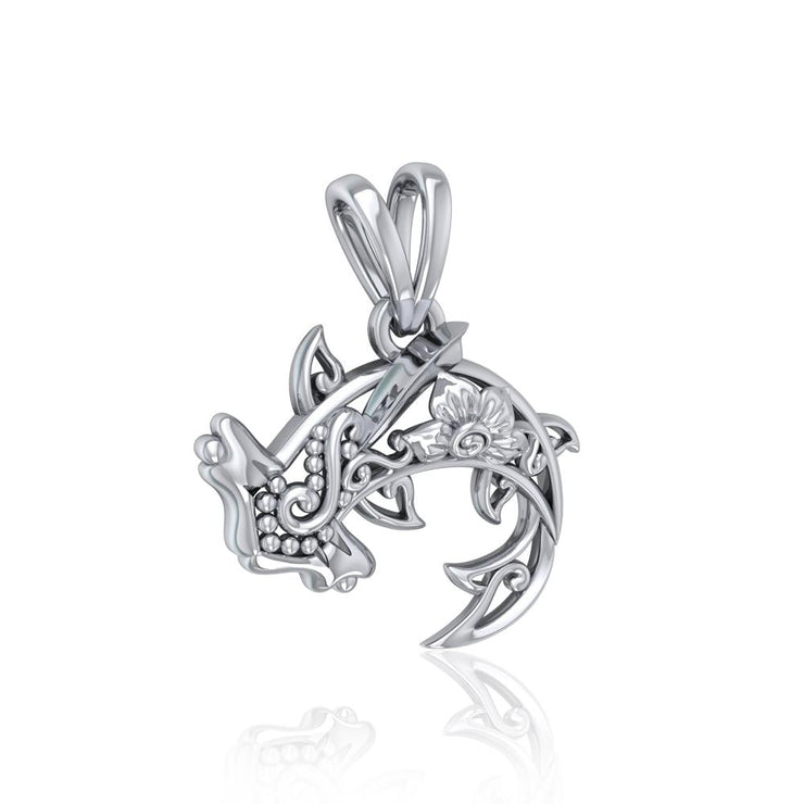 Swim through the endless journey ~ Sterling Silver Hammerhead Shark Filigree Pendant Jewelry TPD5146