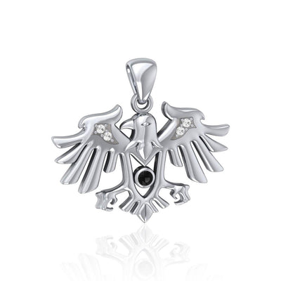 Raven Silver Pendant with Gemstone TPD5157 Pendant