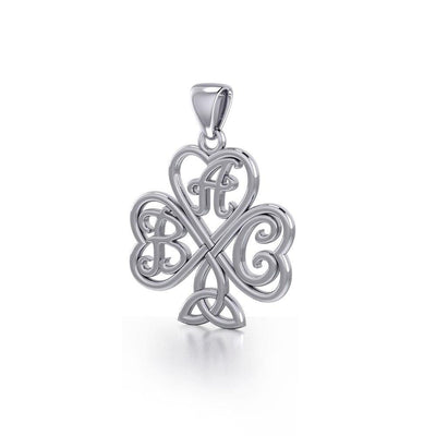 ABC Monogramming Shamrock Clover Silver Pendant TPD5162