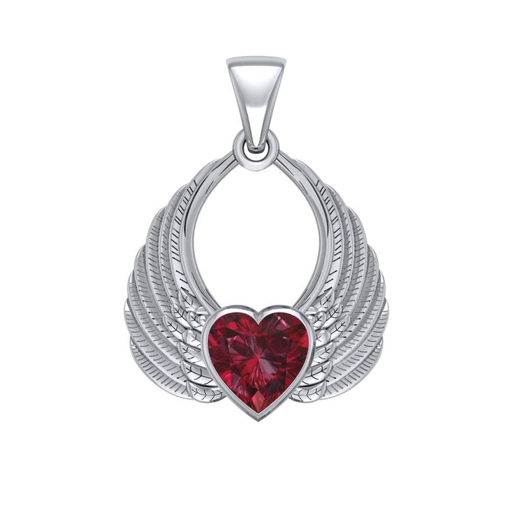 Gemstone Heart Angel Wings Silver Pendant TPD5169 Pendant