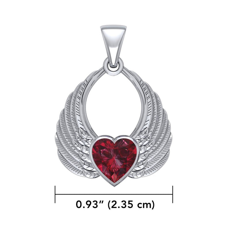Gemstone Heart Angel Wings Silver Pendant TPD5169