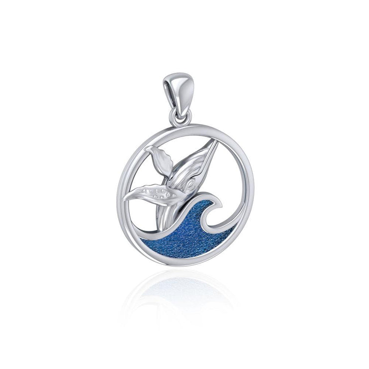 Sterling Silver Whale in the Wave Pendant TPD5175 Pendant