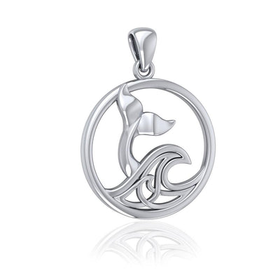 Sterling Silver Round Whale Tail Pendant with Celtic Wave TPD5187 Pendant