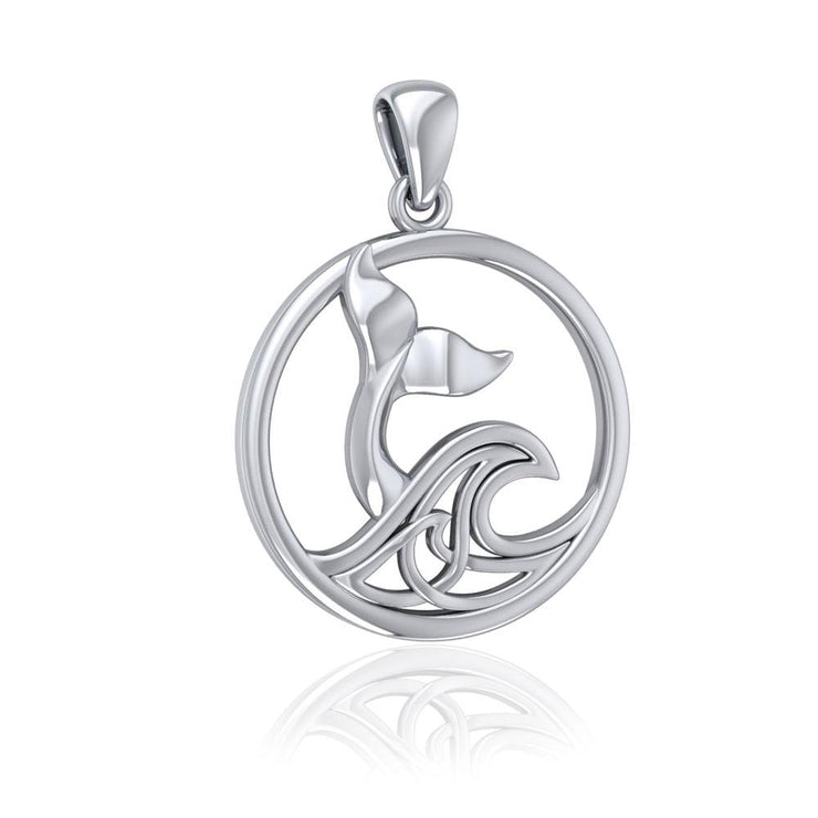 Sterling Silver Round Whale Tail Pendant with Celtic Wave TPD5187