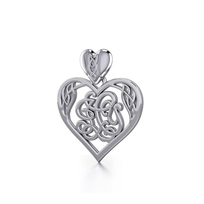 I LOVE YOU Monogramming Celtic Heart Silver Pendant TPD5195