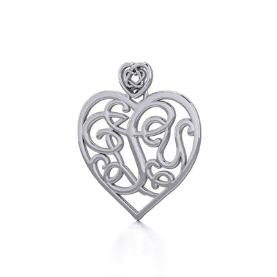 I LOVE YOU Monogramming with Celtic Heart Bail Silver Pendant TPD5196