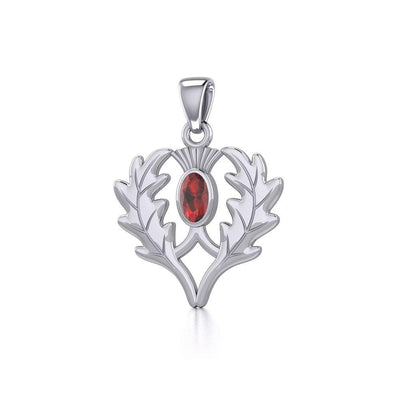 Thistle Silver Pendant with Gemstone TPD5295 Pendant