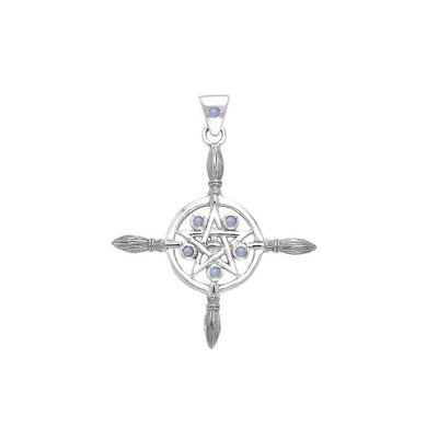 Sterling Silver Broomstick The Star Pendant with Gemstone TPD686