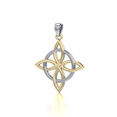 Celtic Quaternary Knot Silver and 14K Gold accent Pendant Pendant