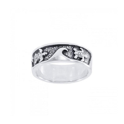 Sea Turtle and Waves Silver Ring TR008