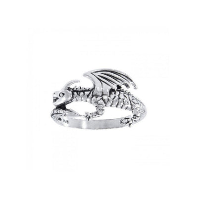 Coiled Fantasy Dragon Silver Ring TR1439