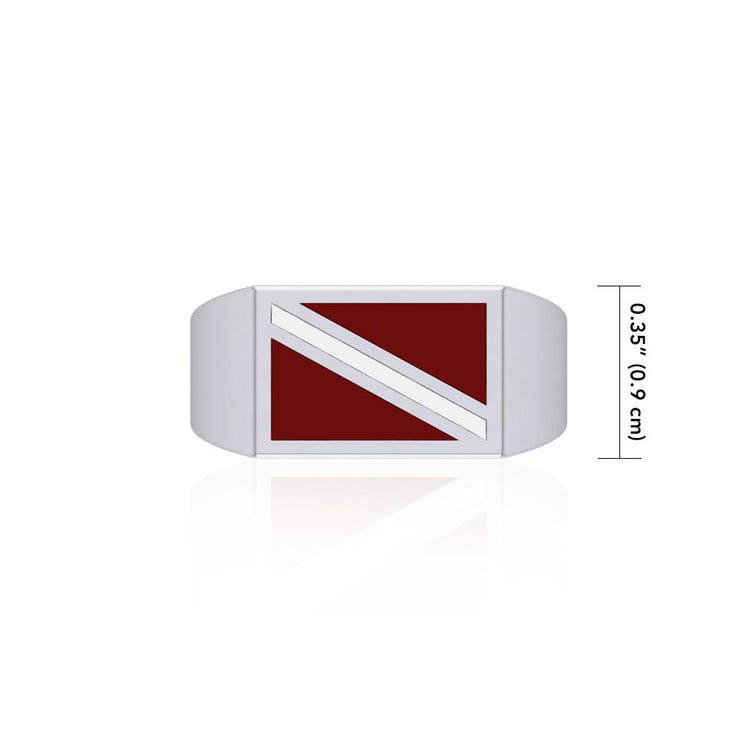 Red and White Dive Flag Silver Ring TR1796