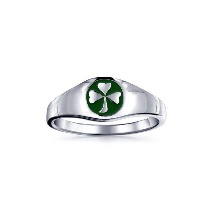 Celtic Shamrock Silver Ring with Enamel TR3686