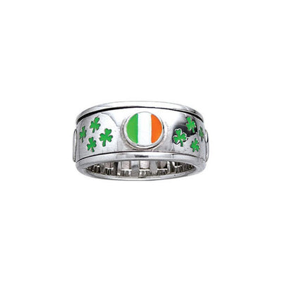 Ireland Flag Shamrock Spinner ring TR3777