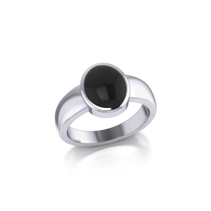 Modern Round Shape Inlaid Silver Ring TR3832