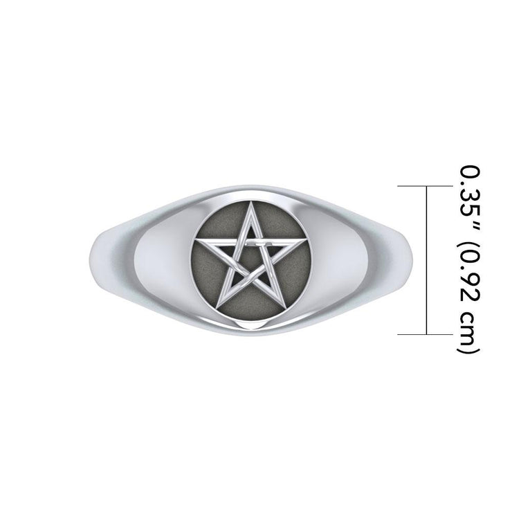 Silver Pentagram Pentacle Ring TR595