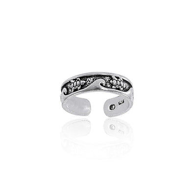 Turtle and Waves Silver Toe Ring TR608