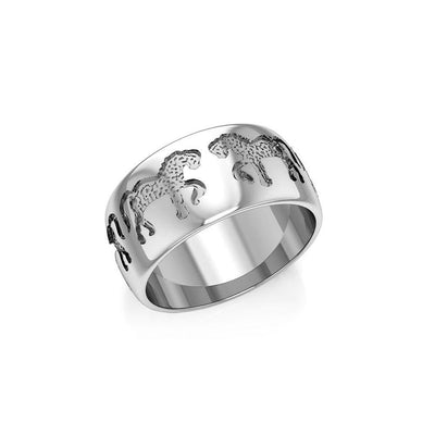 Engraved Horses Silver Ring TR902