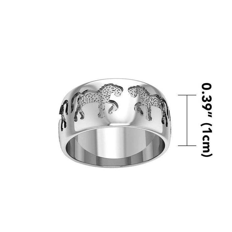 Engraved with passion and vigor ~ fine Sterling Silver Jewelry Horse Ring TR902