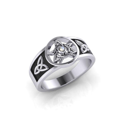 Celtic Trinity Pentacle ~ Sterling Silver Ring with Gemstone TRI058