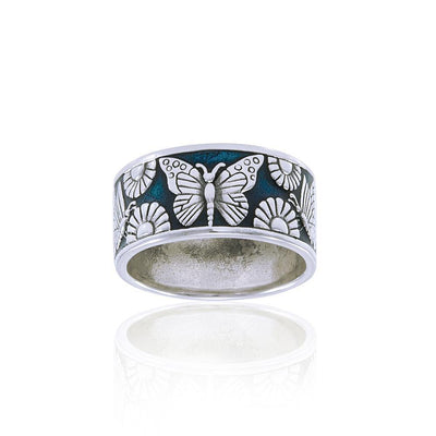 Silver Butterfly & Flower Ring TRI104