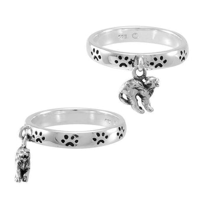 Cat Familiar Pawprint Sterling Silver Ring TRI1561