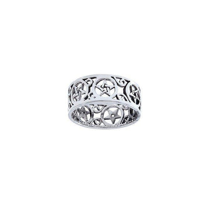 Pentacle Filligree Sterling Silver Ring TRI1564 Ring