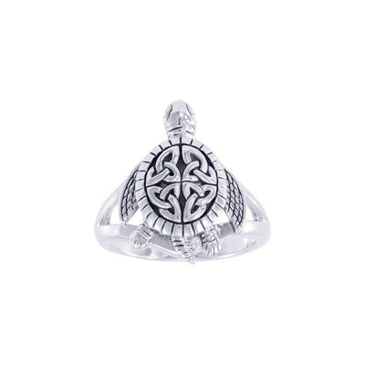 Believe in you pace. . .just like a Celtic turtle Silver Ring TRI1631