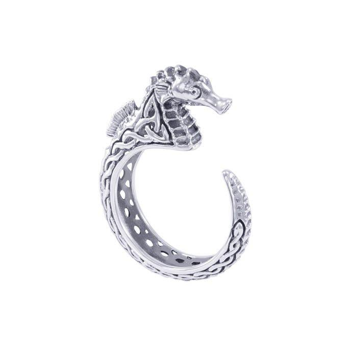 Celtic Accent Seahorse Sterling Silver Wrap Ring TRI1633 Ring