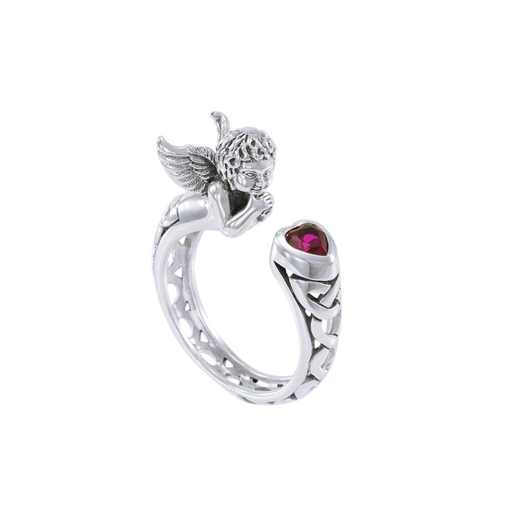 Sterling Silver Celtic Cupid Ring with Gemstone TRI1635