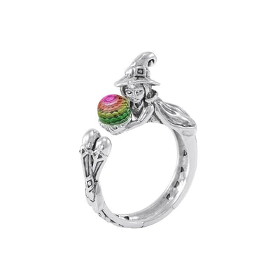 Sterling Silver Witch Ring with Crystal ball TRI1645