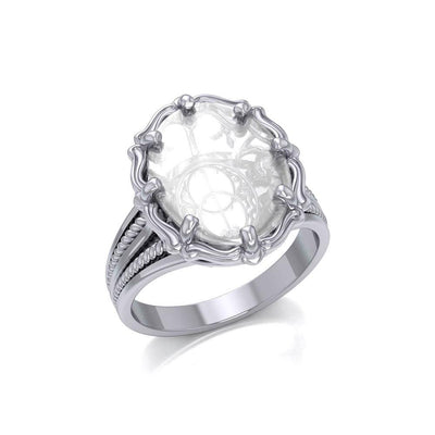 Chalice Well Sterling Silver Ring with Natural Clear Quartz TRI1720