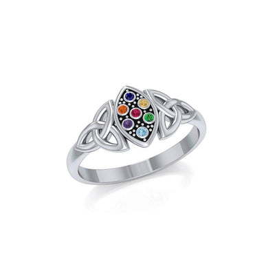 Live in the present moment ~ Celtic Knotwork Trinity Sterling Silver Ring with Chakra Gemstones TRI1733