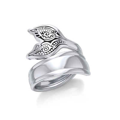 Aboriginal Whale Tail  Sterling Silver Spoon Ring TRI1734 Ring