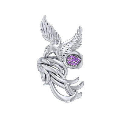 Alighting breakthrough of the Mythical Phoenix ~ Sterling Silver Ring with Gemstone Accents TRI1740 Ring