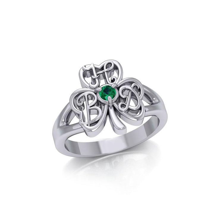 HBD Happy Birthday Monogramming Shamrock Clover Silver Gemstone Ring TRI1751