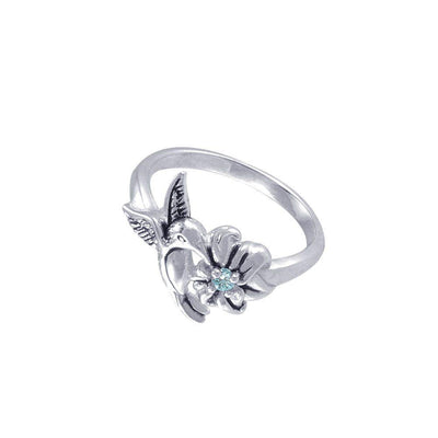 Silver Flying Hummingbird with Gemstone Flower Ring TRI1803 Ring