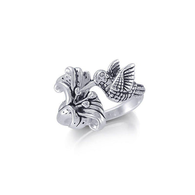 Hummingbird Suspended in Flight and Sweet Flowers Nectar Shimmering in Sterling Silver Ring TRI1805