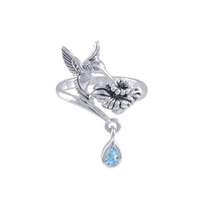 Silver Flying Hummingbird with Dangling Gemstone Flower Ring TRI1808 Ring