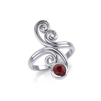Modern Abstract Silver Ring with Round Gemstone TRI1922 Ring
