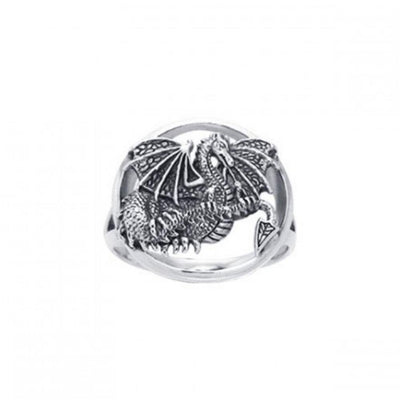 Winged Dragon Silver Ring TRI539
